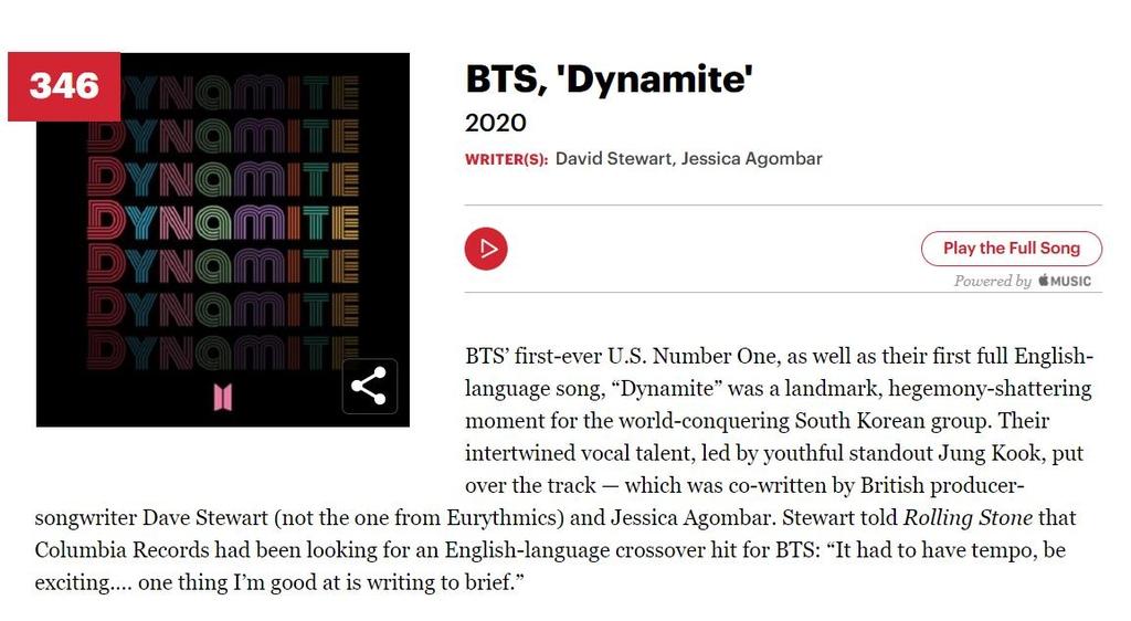 BTS '다이너마이트', 롤링스톤 선정 '위대한 노래 500곡' 올라