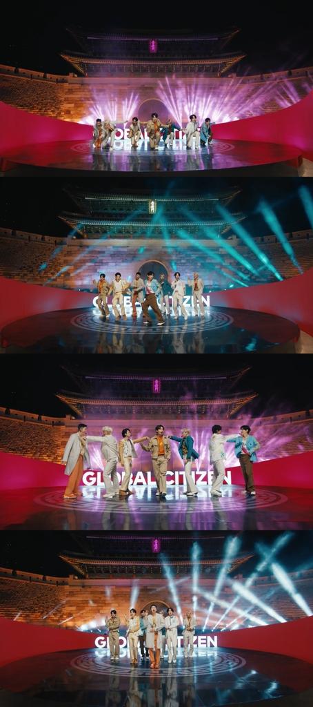 BTS, '6개 대륙 자선콘서트' 오프닝 장식…숭례문 앞 공연