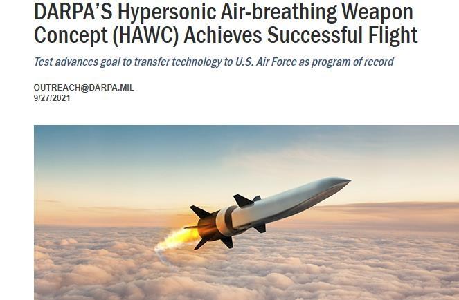 미 국방부, 음속보다 5배 빠른 극초음속 무기 시험 성공