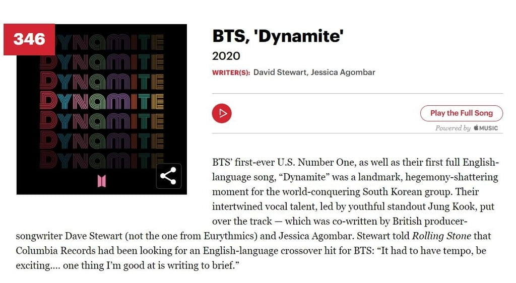 BTS `다이너마이트`, 롤링스톤 선정 `위대한 노래 500곡`