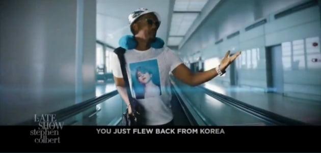 '美레이트 쇼 등장' 방탄소년단 지민, JIMIN 티셔츠 입고 '한국 여행 다녀왔어요'