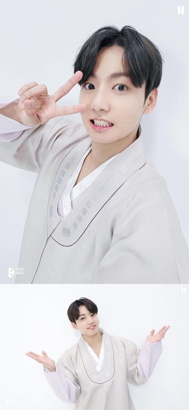 방탄소년단 정국, 한복 입은 '꽃도령'이 전한 '손가락 브이' 추석 인사