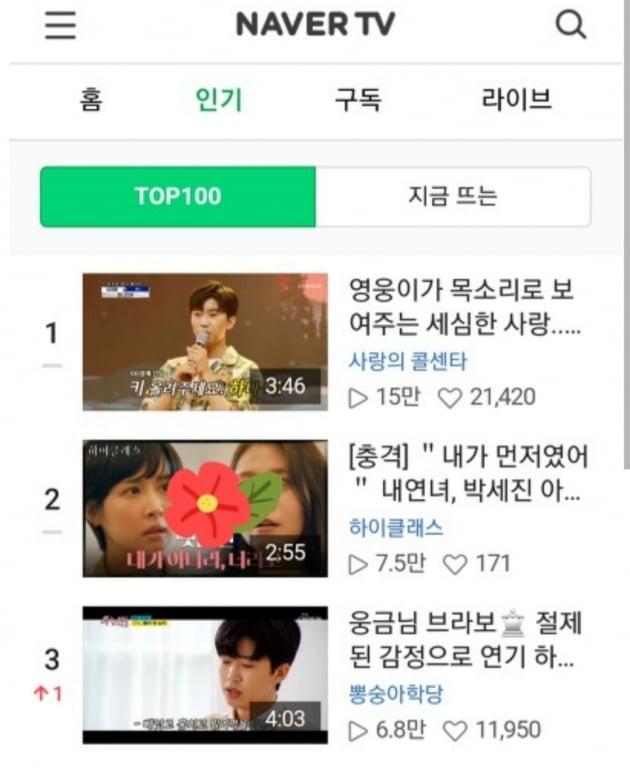 임영웅, 네이버 TV TOP 100 차트 1·3위 차지…인기 '뜨거워라'