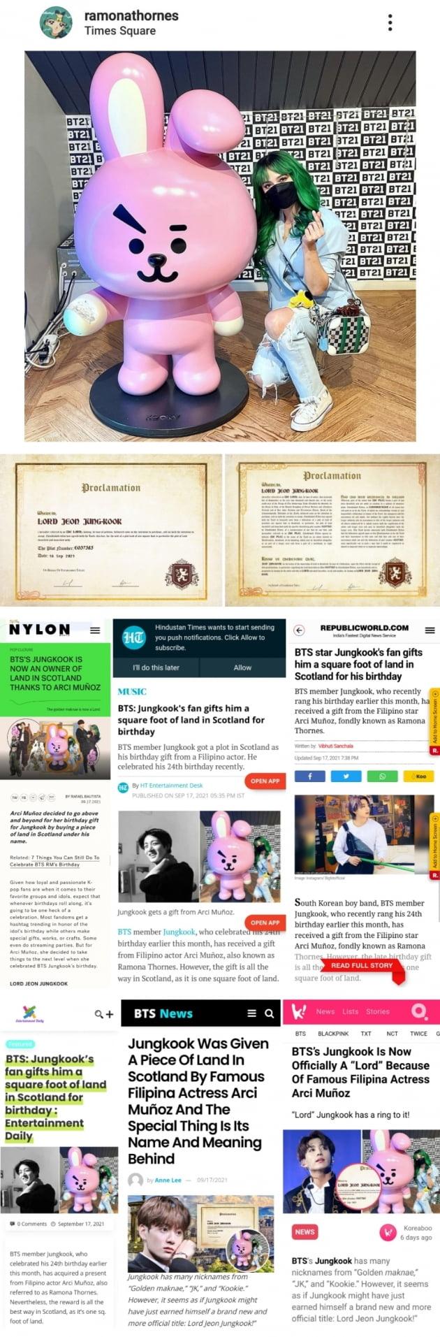 방탄소년단 정국 생일 기념, 필리핀 여배우 '영주 전정국' 스코틀랜드 토지 구매 증서 선물
