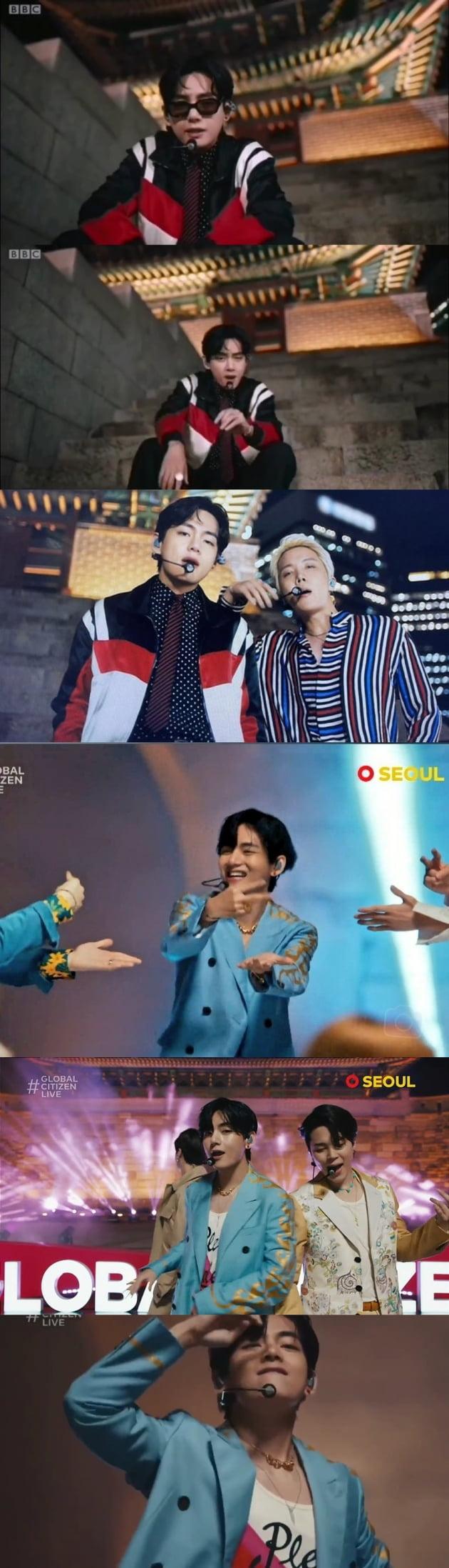 방탄소년단 뷔, '글로벌 시티즌 라이브'서 펼친 국보급 퍼포먼스..의상 품절 '뷔다스 효과'