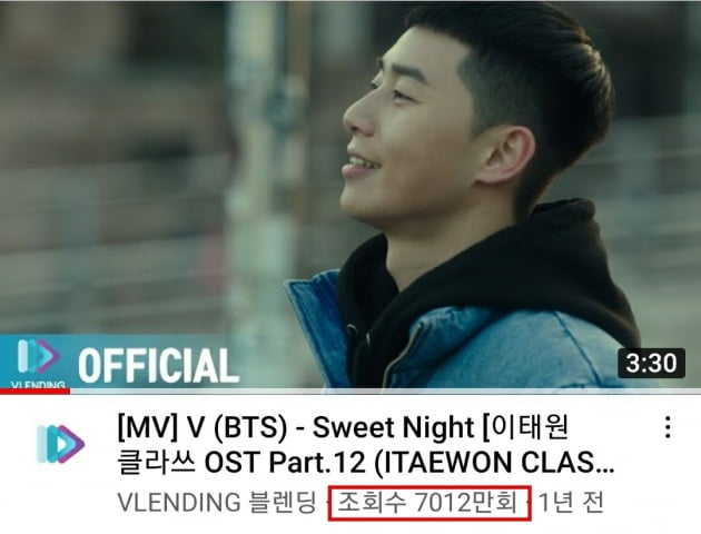 방탄소년단 뷔 자작곡 'Sweet Night' MV 7천만뷰 돌파! 식지 않는 인기