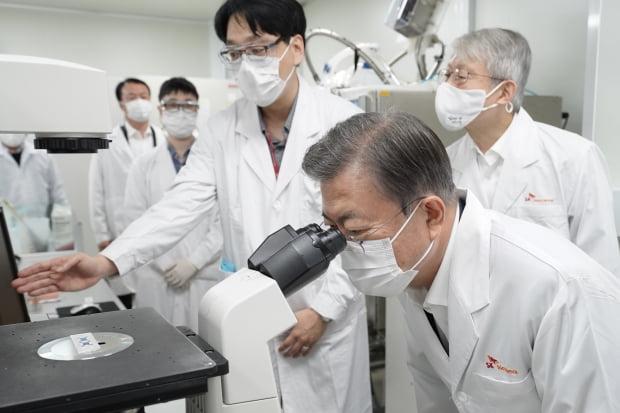 문재인 대통령이 작년 10월 경기 성남시 SK바이오사이언스를 방문해 세포배양실에서 현미경을 보고 있다. /사진=연합뉴스