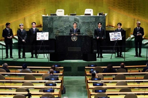 그룹 방탄소년단이 뉴욕 유엔본부 총회장에서 열린 'SDG 모멘트' 개회식에서 연설에 나섰다. /사진=연합뉴스