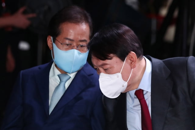 국민의힘 대권 주자 홍준표 후보, 윤석열 후보. / 사진=뉴스1