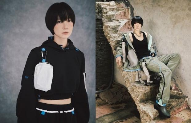 배우 배두나가 자동차 소재를 업사이클링한 의상을 입고 포즈를 취하고 있는 모습. 사진=현대차