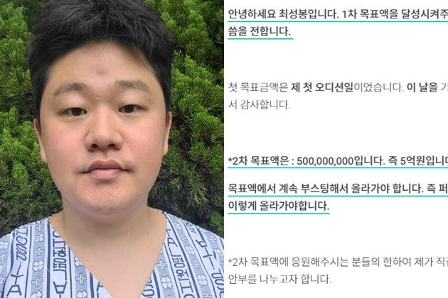 가수 최성봉, 거짓 암 투병 의혹에 앨범 제작 위한 크라우드 펀딩 취소 /사진=와디즈