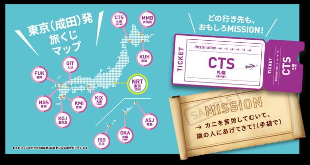 자판기를 뽑으면 행선지가 표기 된 6,000엔 이상의 비행기 티켓 교환 코드와 여행지에서 수행 할 미션이 들어있다.