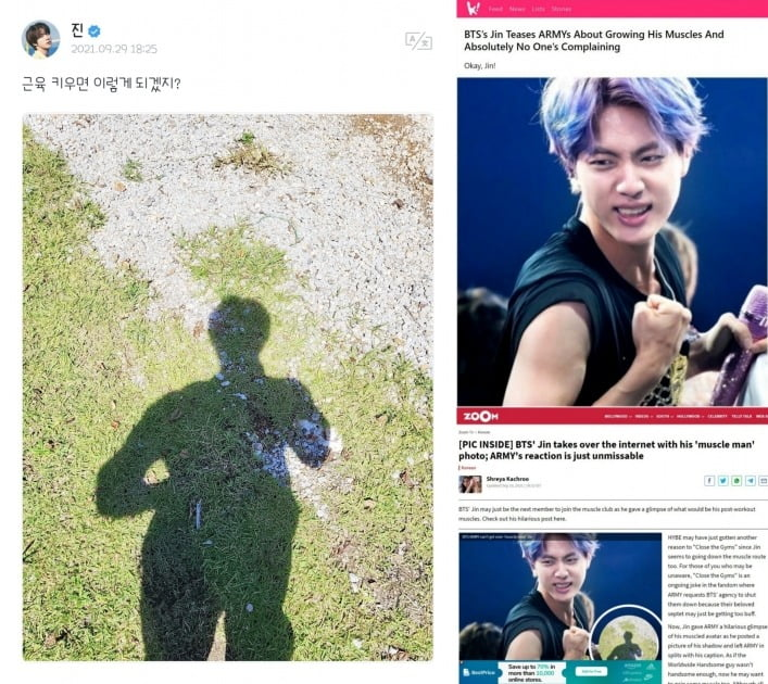 방탄소년단 진, 근육둥이 될까? '독보적인 피지컬' 기대케 한 귀여운 상상