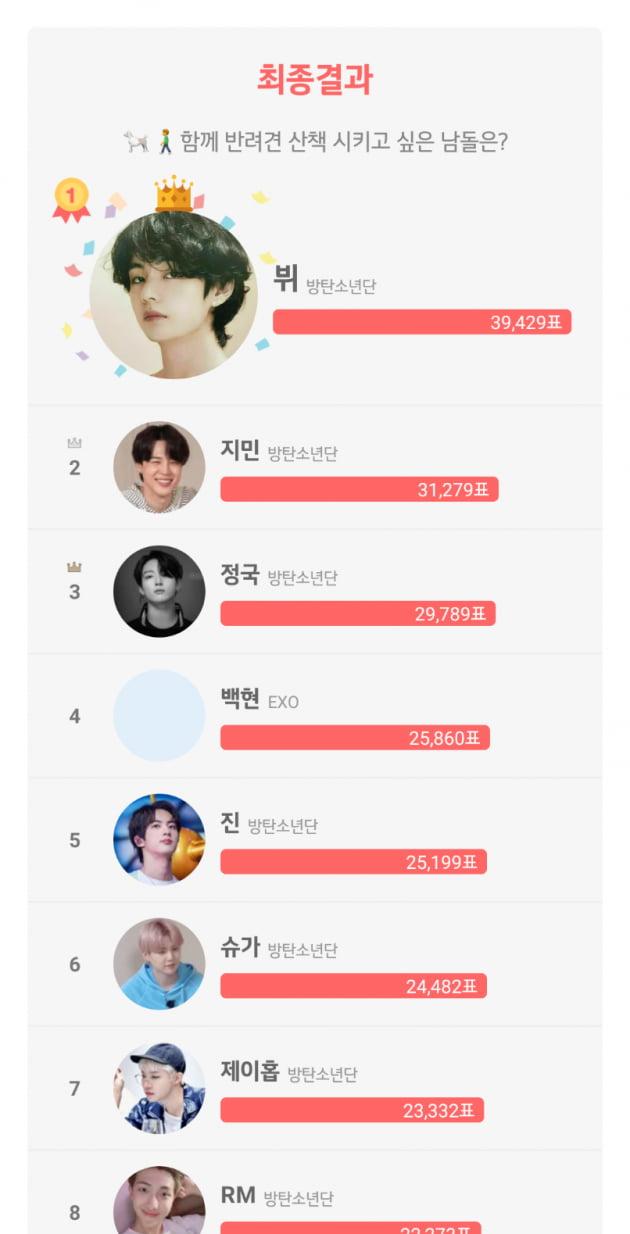 방탄소년단 뷔, '함께 반려견 산책시키고 싶은 남자 아이돌' 1위
