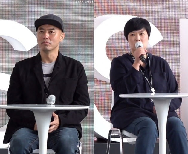 '마이 네임'의 김진민 감독(왼쪽)과 김바다 작가. / 사진=부산국제영화제 오픈토크 생중계 캡처