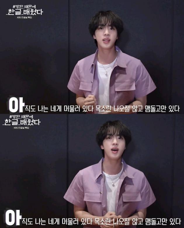 방탄소년단 진, 예쁜 얼굴 예쁜 음색…한글날에 전한 특별한 무반주 '어비스'