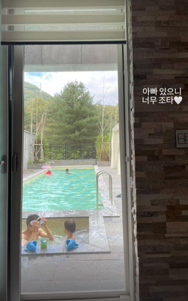 """'애셋맘' 김성은, ♥정조국과 함께 떠난 풀빌라 여행 """"너무 좋다"""" [TEN★]"""