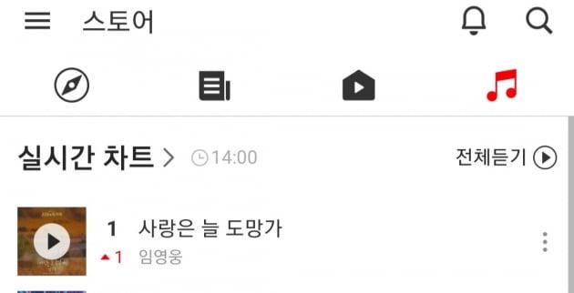 임영웅 첫 OST '사랑은 늘 도망가', 카카오뮤직 1위→음원사이트 석권